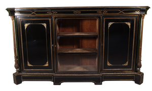 Ebonised Breakfront Credenza with Gilt Metal Mounts and Brass Inlay