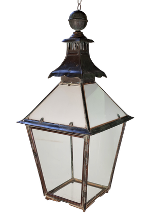 Copper Coach House Lantern with Upper Milk Glass Panels
