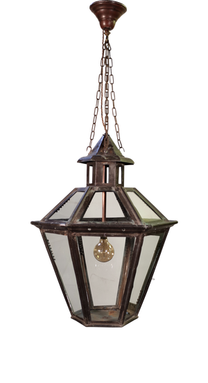 Large Hexagonal Copper Hooded Lantern