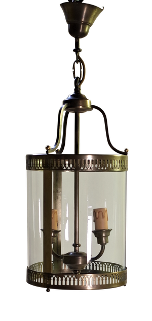 Round Glass and Brass Lantern with Two Candle Bulb Fittings