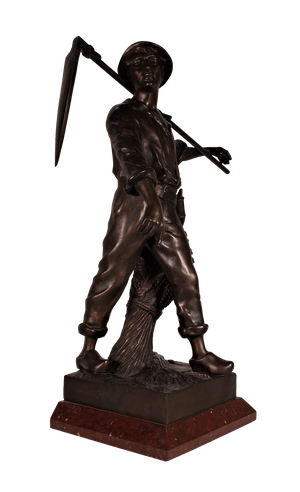 Spelter Figure of a Harvester on Marble Base
