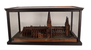 Cased Scratch Built Wooden Model of Lichfield Cathedral