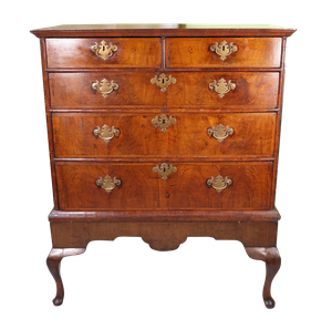 Queen Anne Style Walnut Veneered Chest in Stand of Two Over Three Drawers