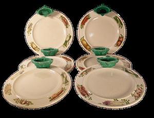 Set of Six Hand Painted Faiences Crudites Plates