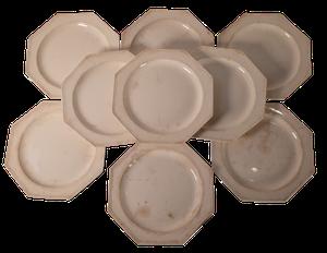 Set of Ten Creamware Hexagonal Plates
