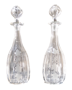 Pair of Cut Glass Decanters with Etched Vine Decoration