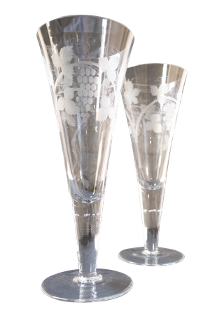 Pair of Tall Glass Stem Vases with Etched Vine Decoration
