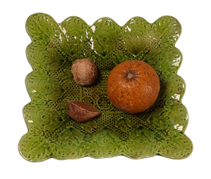 Ceramic Plate Still Life of Nuts and an Orange on a Napkin by Bretby