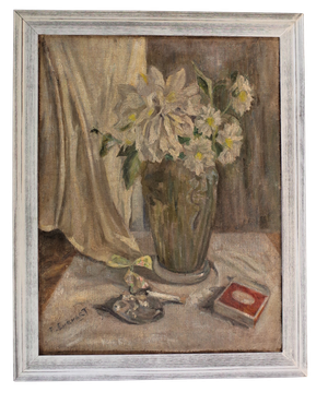 Oil on Canvas Still Life Tablescape with Vase