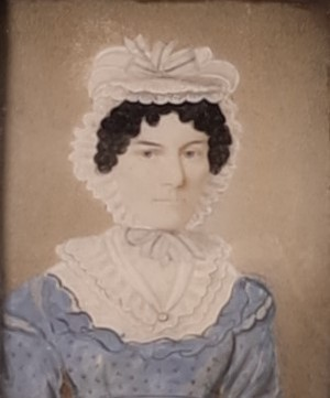 Early Victorian Watercolour of Female Portrait in a Gilt Frame with Cushioned Glass