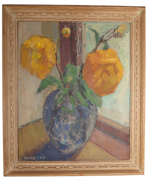 Oil on Canvas Still Life of Flowers in a Vase