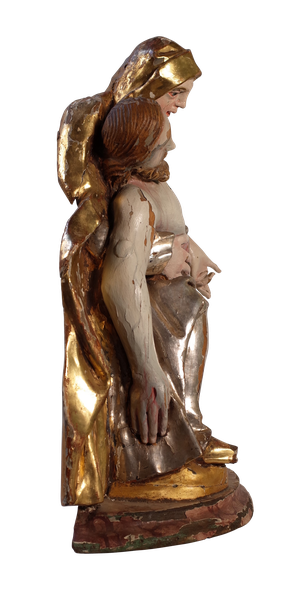 Polychromed and Silver Gilt Figure of the Fallen Christ