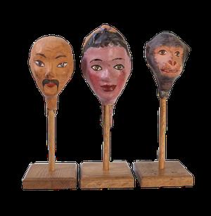 Set of Three Mounted Papier Mache Puppet Heads