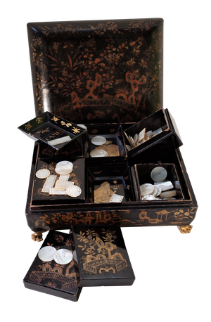 Lacquered Chinoiserie Gaming Box fitted with Trays including Mother of Pearl Gaming Tokens
