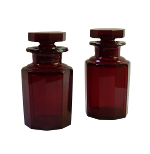 Pair of Ruby Glass Flasks with Stoppers