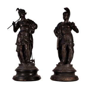 Two Spelter Soldiers on Turned Wooden Bases
