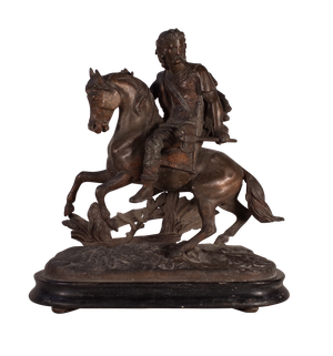 Spelter Warrior on Horseback Mounted on Wooden Base
