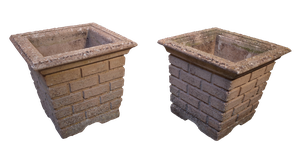 Pair of Square Moulded Composite Planters