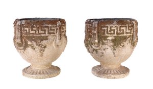 Pair of Small Composite Urn Planters with Greek Key Design