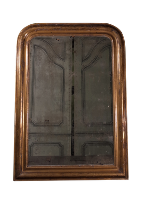 Gilt D-Top Mirror with Faint Leaf Decoration