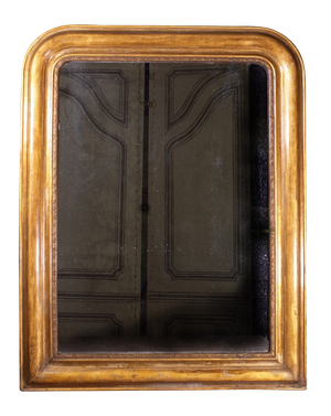 Gilt D-Top Mirror with Embossed Gesso Inner Rim