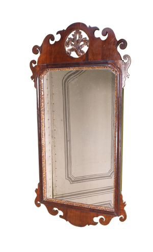 George III Rosewood Mirror with Central Carved Gilt Relief