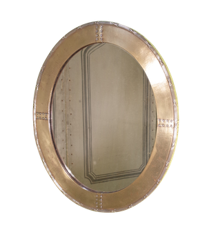 Arts & Crafts Riveted Brass Oval Mirror with Ribbon Decoration