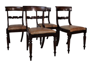 Set of Four Late George III Mahogany Dining Chairs with Leather Pads