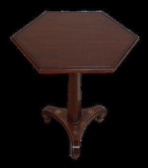 Hexagonal Brass Inland Walnut Pedestal Table on Ball Feet