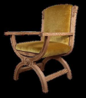 Stripped Oak X-Frame Carver Chair Upholstered in Velvet