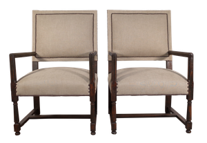 Patinated Pair of Walnut Elbow Chairs Upholstered in Linen