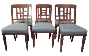 Set of Six Late Victorian Mahogany Dining Chairs Upholstered in Linen