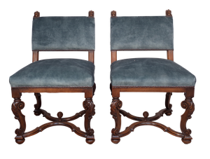 Pair of Late Victorian Carved Walnut Side Chairs Upholstered in Velvet