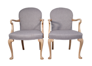 Pair of Stripped Beech Bridge Chairs Upholstered in Linen