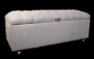 Edwardian Deep Buttoned Ottoman Upholstered in Linen