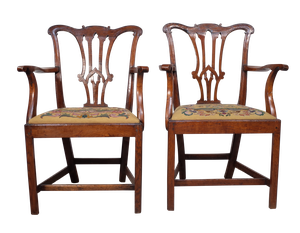 Pair of Hepplewhite Style Oak Carver Chairs with Needlepoint Pads