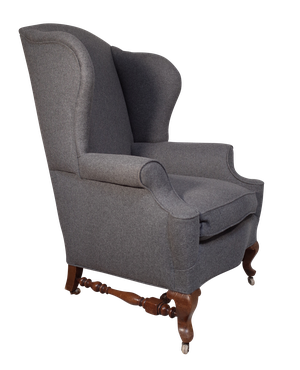 Howard and Sons Wingback Library Chair Upholstered in English Wool