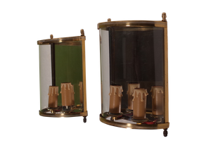 Pair of Brass and Glass Demi-Lune Wall Lanterns