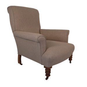 Victorian Scrollback Armchair Upholstered in Linen