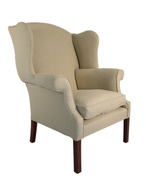 Large Wingback Armchair Upholstered in Linen