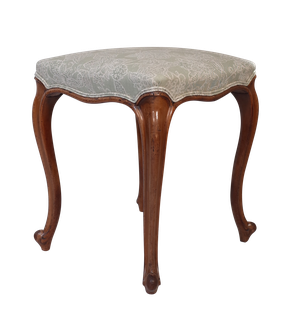 Walnut Stool on Tall Cabriole Legs Upholstered in Linen