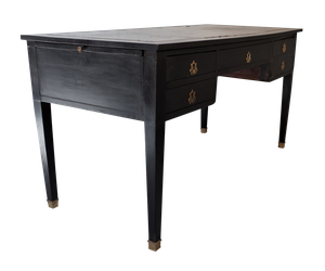 Painted Ebonised Leather Topped Empire Style Desk with Ormolu Mounts and Two End Slides