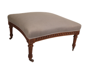 Napoleon III Carved Walnut Stool Upholstered in Linen