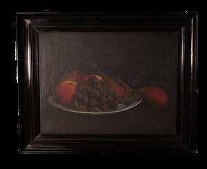 Oil on Canvas Still Life of Fruit in Ebonised Frame