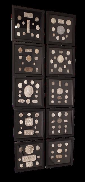 Set of Ten Plaster Intaglios Mounted on Black Velvet in Box Frames