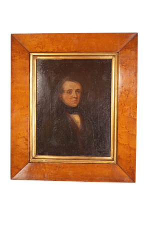 Victorian Oil on Canvas Male Portrait in Birds Eye Maple Frame