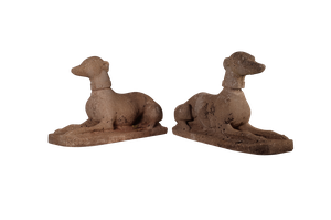 Pair of Weathered Composite Greyhounds