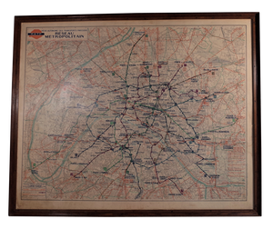 Paris Transport Map in Oak Frame