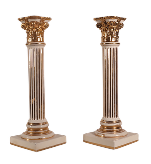 Pair of Staffordshire Corinthian Column Candlesticks