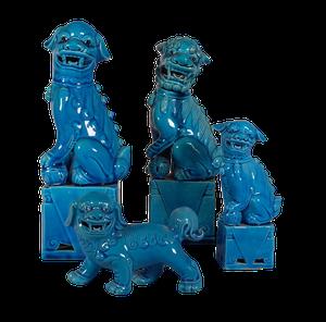 Four Blue Foo Dogs